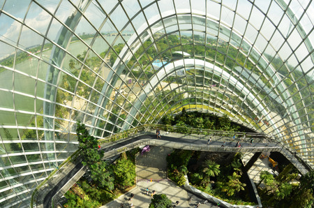 hectares: SINGAPORE - DEC 27: Cloud Forest at Gardens by the Bay in Singapore. Spanning 101 hectares of reclaimed land in central Singapore, adjacent to Marina Reservoir.
