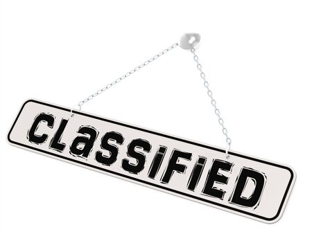 classified: Classified word on white banner and isolated