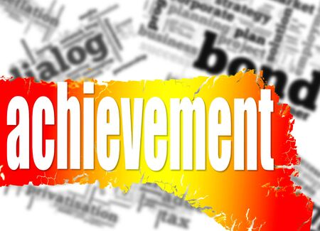 hires: Word cloud with achievement word image with hi-res rendered artwork Stock Photo