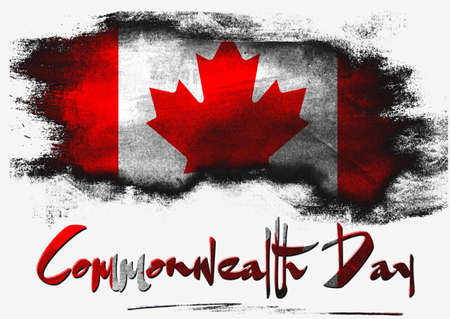 Flag of Canada for Commonwealth Day with white background