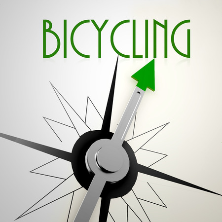 bicycling: Bicycling on green compass. Concept of healthy lifestyle