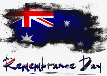 remembrance: Remembrance Day with Australia flag image with hi-res rendered artwork that could be used for any graphic design. Stock Photo
