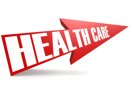 Red arrow with health care word image with hi-res rendered artwork that could be used for any graphic design.