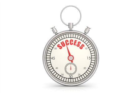 accomplishments: Stopwatch with success word isolated image with hi-res rendered artwork that could be used for any graphic design.