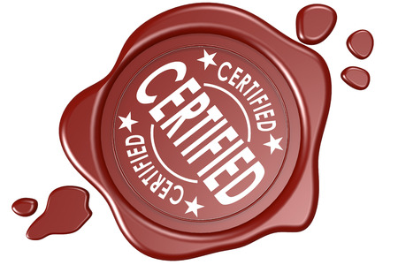 certify: Certified label seal isolated image with hi-res rendered artwork that could be used for any graphic design.