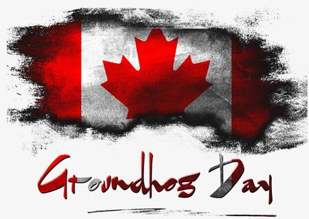 Flag of Canada for Groundhog Day with white background