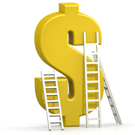 Yellow dollar sign with ladder on white background Stock Photo