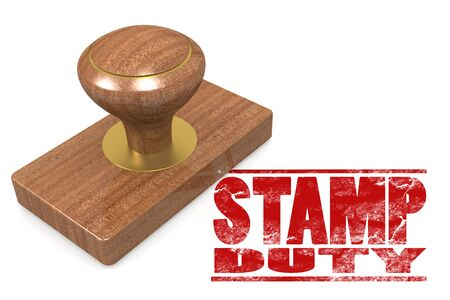 duty: Stamp duty wooded seal stamp image with hi-res rendered artwork that could be used for any graphic design. Stock Photo
