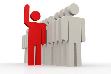 differed: Red man stand out of a line of queue image with hi-res rendered artwork that could be used for any graphic design. Stock Photo