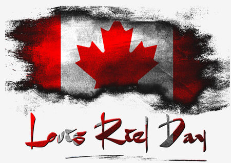 riel: Flag of Canada for Louis Riel Day with white background