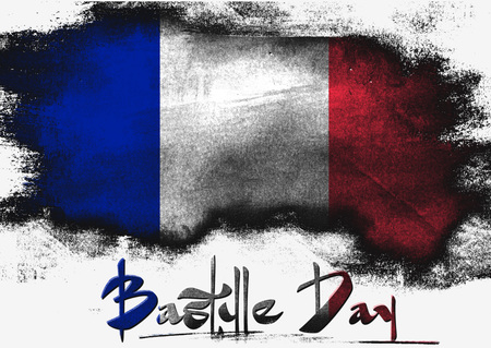 the bastille: Bastille Day in France painted with brush on solid background,