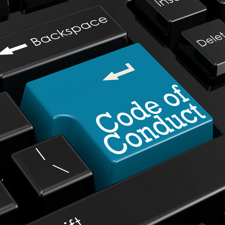 working ethic: Code of conduct concept.  Blue keyboard button. 3D Render.