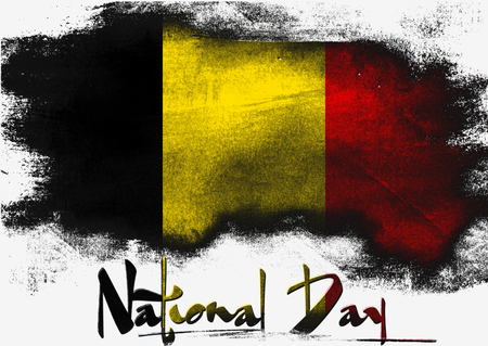 solid background: Belgian National Day painted with brush on solid background,