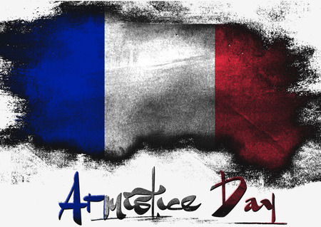 armistice: Armistice Day in France painted with brush on solid background,