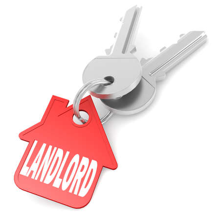 landlord: Keychain with landlord word image with hi-res rendered artwork that could be used for any graphic design.