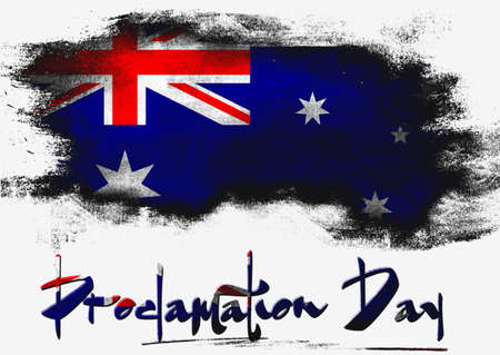 proclamation: Proclamation Day with Australia flag image with hi-res rendered artwork that could be used for any graphic design. Stock Photo