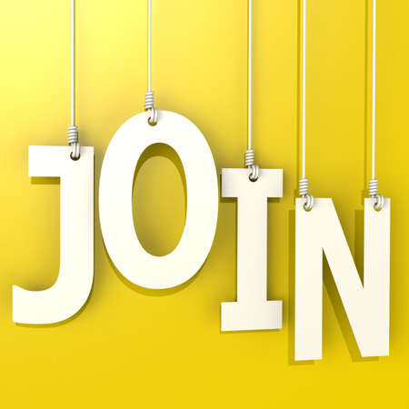 could: Join word hang on yellow background image with hi-res rendered artwork that could be used for any graphic design.