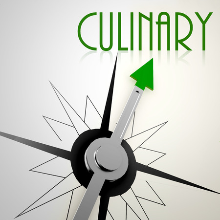 kulinarne: Culinary on green compass. Concept of healthy lifestyle