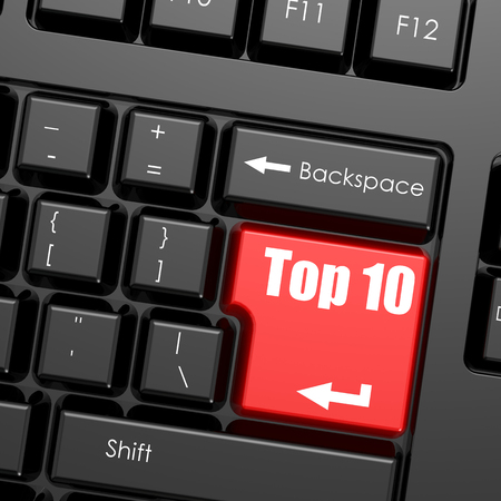 ten best: Red enter button on computer keyboard, Top 10 word. Business concept