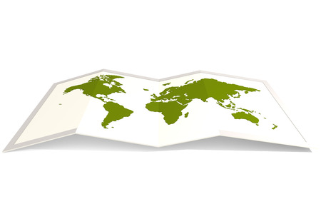 green world: Green world map, isolated on white, 3D rendering Stock Photo