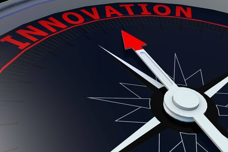 innovation word: Black compass with innovation word on it, 3D rendering