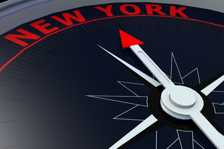 migrate: Black compass with New York word on it, 3D rendering