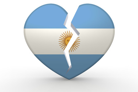argentina flag: Broken white heart shape with Argentina flag, 3D rendering