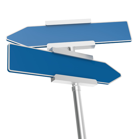 metal pole: Blue signboard with metal pole, isolated with white background Stock Photo