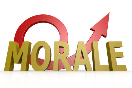 morale: Morale word with red arrow image with hi-res rendered artwork that could be used for any graphic design