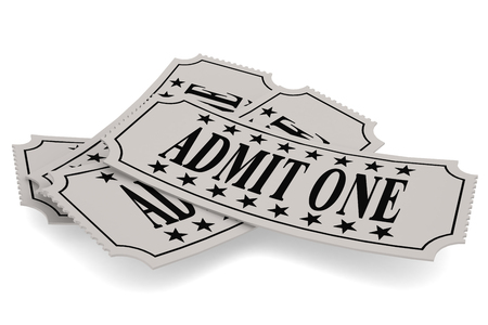 admit one: Ticket paper with admit one word, isolated on white, 3D rendering