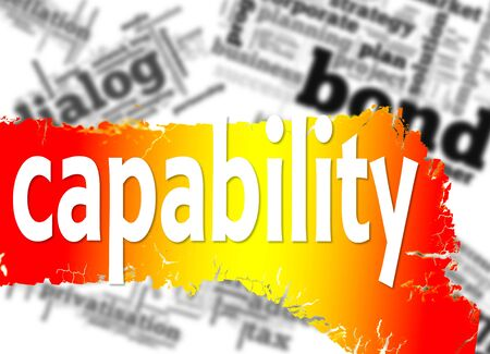 capability: Word cloud with capability word image with hi-res rendered artwork that could be used for any graphic design. Stock Photo