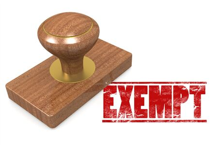exempt: Exempt wooded seal stamp image with hi-res rendered artwork that could be used for any graphic design.