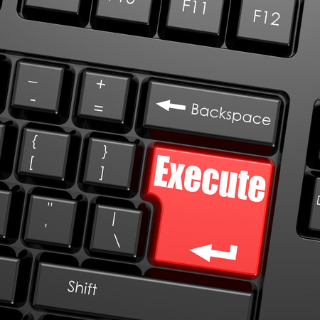 execute: Red enter button on computer keyboard, Execute word. Business concept Stock Photo