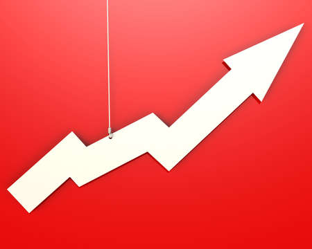sales growth: White arrow hang on red background image with hi-res rendered artwork that could be used for any graphic design.