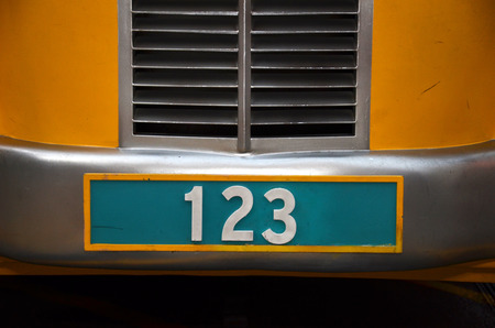 numberplate: Number plate with 123 number on green background Stock Photo