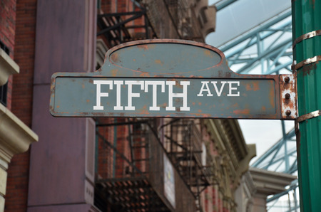 fifth: Street sign on the corner of Fifth avenue, New York Stock Photo