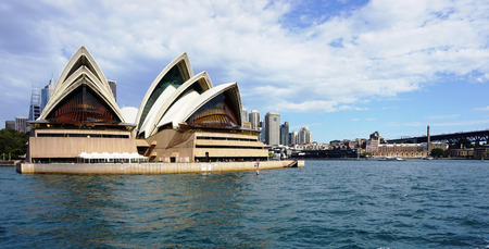 utzon: SYDNEY - AUG 22: Sydney Opera House view on August 22, 2015. in Sydney, Australia. The Sydney Opera House is a famous arts center. It was designed by Danish architect Jorn Utzon.