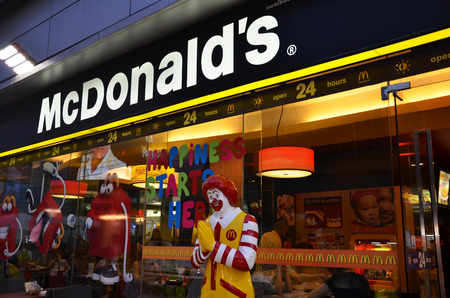 mcdonald: BANGKOK, THAILAND - JUNE 20, 2016: Exterior view of McDonald Restaurant in Bangkok, Thailand. It is the world largest chain of hamburger fast food restaurants.
