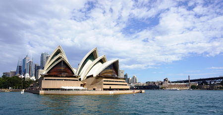 utzon: SYDNEY, AUSTRALIA - JUNE 20, 2016: Sydney Opera House view in Sydney, Australia. The Sydney Opera House is a famous arts center. It was designed by Danish architect Jorn Utzon.