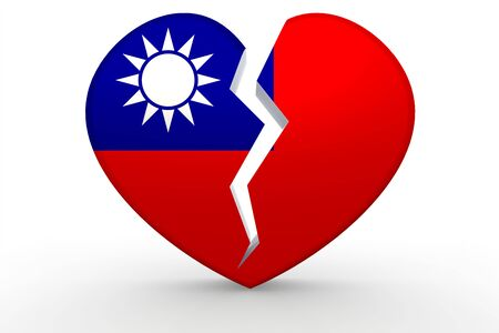 breakup: Broken white heart shape with Republic of China flag, 3D rendering
