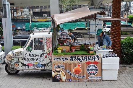 BANGKOK, THAILAND-20 JUNE, 2016: Food truck parking near Platinum Fashion Mall, Bangkok for food business