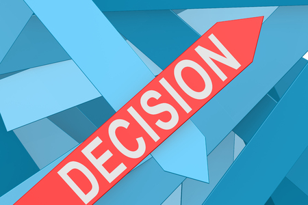 reconsideration: Decision word on red arrow pointing upward, 3d rendering Stock Photo