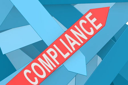 comply: Compliance arrow pointing upward, 3d rendering