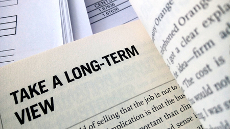long term: Take a long term view word on the book with balance sheet as background