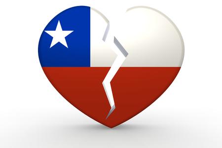bandera de chile: forma de corazón blanco roto con la bandera de Chile, 3D