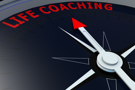 life coaching: Black compass with life coaching word on it, 3D rendering Stock Photo
