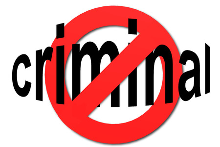 Stop criminal sign in red with white background, 3D rendering