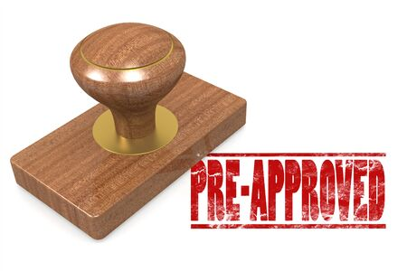 Pre-approved wooded seal stamp image with hi-res rendered artwork that could be used for any graphic design. Stock Photo