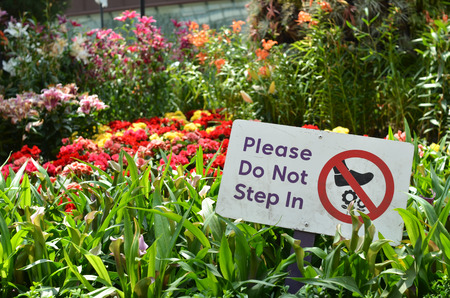 Please do not step in sign in Gardens by the Bay, Singapore