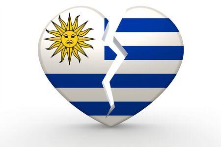 bandera de uruguay: forma de corazón blanco roto con la bandera de Uruguay, 3D